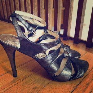 """Metallic 4"""" Michael Kors strappy heels. Sz 10."""